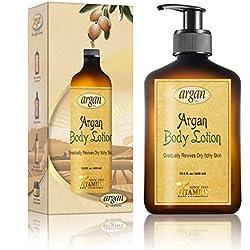 Vitamins loción corporal hidratante, reparación de piel seca con aceite de argán marroquí. Crema hidratante para ultra hidratación