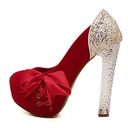 De Em De Mulheres Oasap Pretos Belo Arco Sapatos Lantejoulas Torno HqXw07tw6