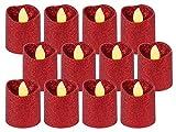 Alsino LED Teelicht flammenlose Teelichter Kerze rot Glitzer 120 Stunden Brenndauer inklusive Batterien TL-11, wählen :12 Stück