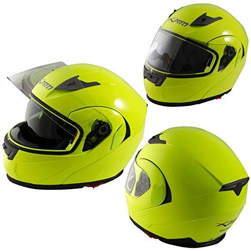 Casco modulare apribile moto touring visiera interna parasole viaggio fluo l