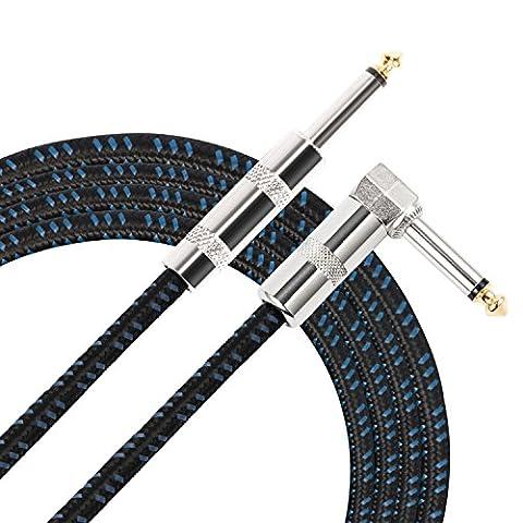 Donner 10ft 6.3mm Klinkenkabel für Gitarre/Bass/Instrumenten mit einseitiger gewinkelter Klinke und 1 Standard Klinke