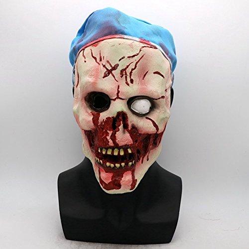FHDUY Horror Maske Übelkeit Geisterhaus Geheimes Zimmer Leute Erschrecken Schädel Schädel Plasma Halloween Biohazard Film Kopfbedeckungenblauer Hut Krankenschwester