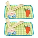 2PCS tovaglietta Pasqua LUOEM tovaglietta coniglietta con tovaglioli Decorazioni da tavola per Pasqua 48 x 35 cm
