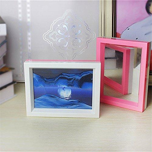 DeerBird Moon in Wasser Fließende Sand Bild 3D ILLUSION Landschaft, doppelt Farbe Rahmen Sand Kunst mit Spiegel für Wohnzimmer Regal Art Ornaments