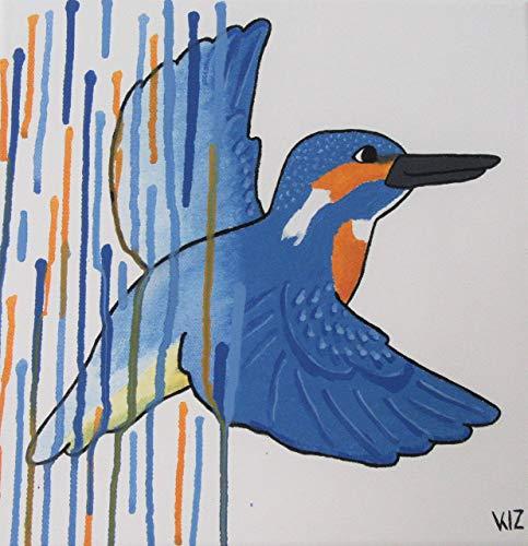 Acrylgemälde EISVOGEL FARBVERLAUF 30cm x 30cm von Schnuppadoo Comicstil Wanddekor handgemalt auf Leinwand Unikat Original Kunst - Blau Wildnis