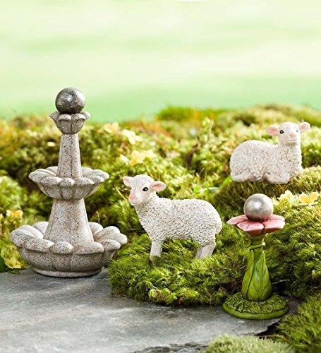 Jardin Féérique miniature Mouton et les fontaines de Lot de, 4 pièces
