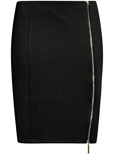 oodji Ultra Damen Bleistiftrock mit Metallreißverschluss Schwarz (2900N)