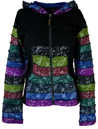 Guru-Shop Goa Patchwork Jacke Schwarz, Damen, Baumwolle, Size:S/M (36), Boho Jacken, Westen Alternative Bekleidung