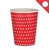 EinsSein 48x Pappbecher Dots 53x75x88mm rot Papierbecher Punkte Becher aus Pappe Partygeschirr Pappgeschirr