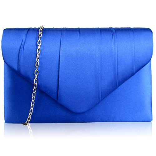 zarla nuevo mujeres plisado satén diamante Embrague Bolsas de novia fiesta Prom Mujer Noche UK, color Azul, talla
