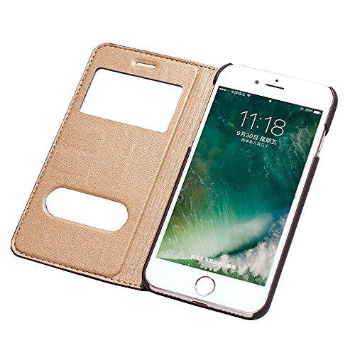 iPhone 7 Etui,EVERGREENBUYING - Coque Portefeuille Cuir avec stand IPHONE7 Premium Etui de Protection [avec fenêtre et fonction de support] Case Cover pour iPhone 7 4.7 inch Noir Marron