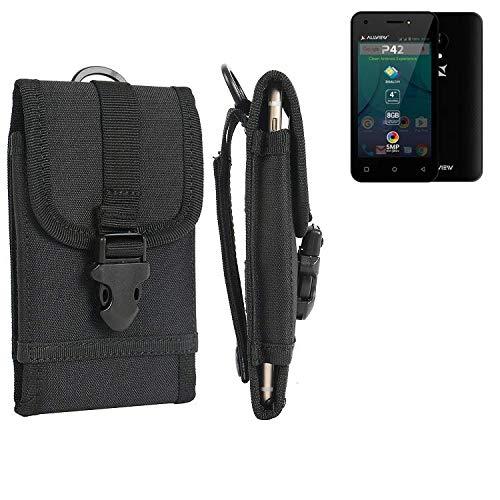 K-S-Trade Handyhülle für Allview P42 Gürteltasche Handytasche Gürtel Tasche Schutzhülle Robuste Handy Schutz Hülle Tasche Outdoor schwarz