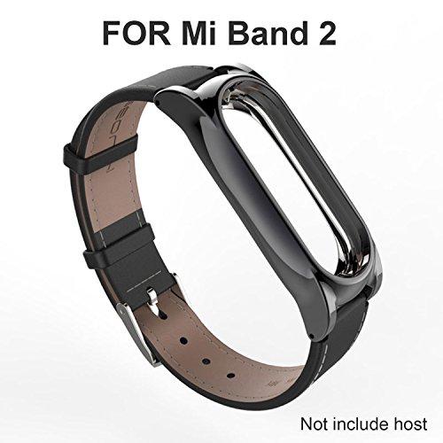 Mi band 2 Cinturino di Cuoio Braccialetto di Ricambio per Xiaomi Mi Band 2 Smart Miband 2 Banda di cuoio  (Pelle nera,Activity Tracker non incluso)