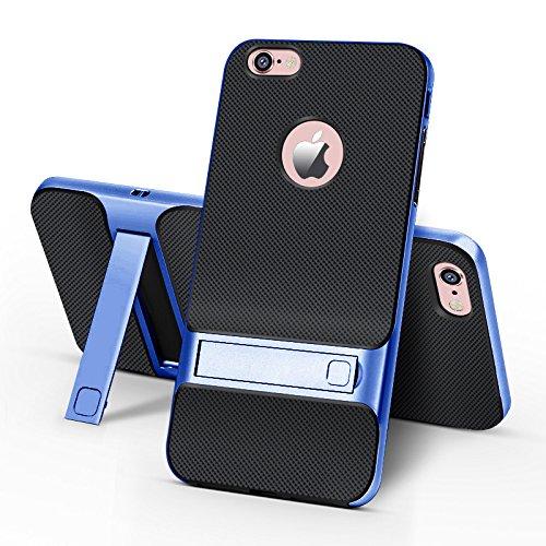BCIT iPhone 6 Custodia - ibrida Morbido resistente agli urti + Bumper Frame Dual Layer Case con Supporto di protezione per iPhone 6 - Grigio Blu