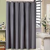 Graue stoff duschvorhang, Mildewproof und wasserdichte duschvorhang für badezimmer mit 12pcs haken-A 180x220cm(71x87inch)