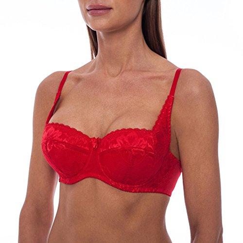 frugue Soutien-Gorge Push Up - Dentelle - Grande Taille - Femme Rouge FR 105E