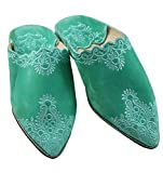 ChiCies Orientalische Schuhe Babouche Hausschuhe Pantoffel Slipper Aus Marokko - Damen Hausschuhe Aus Leder-Brokat, Handarbeit Aus Fes (39, Grün)