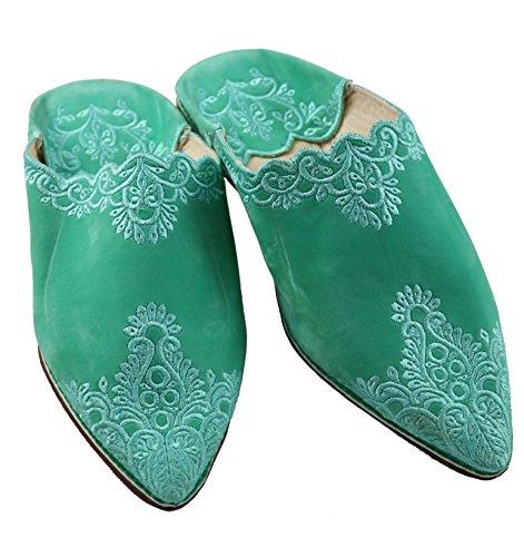 9fd958d6cfa8 ChiCies Orientalische Schuhe Babouche Hausschuhe Pantoffel Slipper Aus  Marokko - Damen Hausschuhe Aus Leder-Brokat