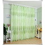 Transmitencia ligera del árbol verde inelástica poliéster impresión Offset Vertical persianas investigación cenefa, 100 * 200cm, 1 panel de la ventana de la cortinas de Tul