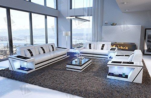 Designer Couch Paderborn 3er, 2er & Sessel weiss schwarz - 2