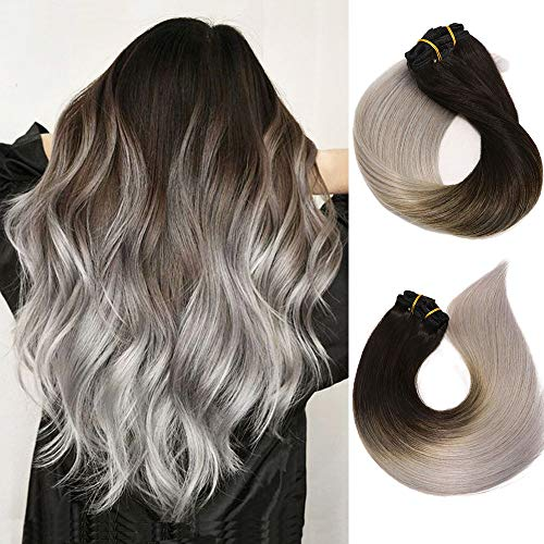Clip In Hair Extensions Human Hair Ombre Hair Natural Black Fading to Silver Gray Brazilian Hair 120g 7pcs Per Set Remy Hair Full Head Silky Straight Human Hair Clip In Extensions 20 Inch - Extra Light Natural Blonde