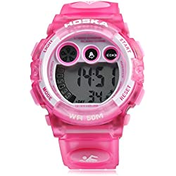 Leopard Shop HOSKA H002B Children LED Digital Watch Day Chronograph LED Sports Water Resistance Wristwatch Pink