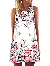 be715ee687d Kleid Damen Sommer SANFASHION Kleider Vintage Boho Frauen Sleeveless Strand  Printed Short Minikleid