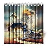 Violetpos Top Qualität Anti-Schimmel Duschvorhang Digitaldruck für Badezimmer Badvorhänge Adler Wolf Muster 200 x 180 cm