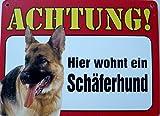 Schild 14x19cm - Hier wohnt ein Schäferhund Hund Haus Alu Coupon dipond