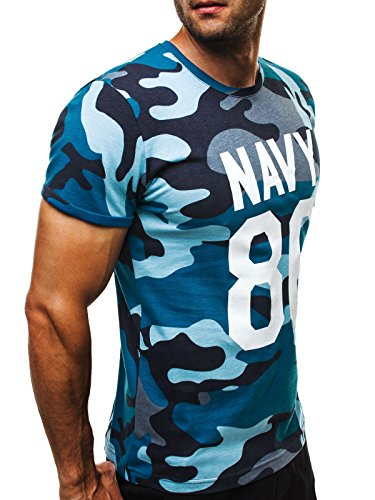 OZONEE Herren T-Shirt mit Motiv Kurzarm Rundhals Figurbetont ATHLETIC 1028 Blau