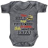 Vatertag Feuerwehr Strampler Bio Baumwoll Baby Body kurzarm Papa - Mein Held trägt Feuerwehrstiefel, Größe: 0-3 Monate,Heather Grey Melange