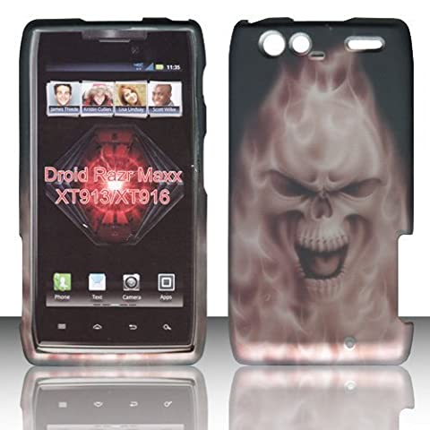 2D Grey Skull Motorola Droid RAZR MAXX , XT913/ XT916 Verizon Case Cover Hard Protector Phone Cover Snap on Case Rubberized Frosted Matte Surface Hard