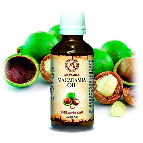 Aceite de Macadamia 50ml - Macadamia Integrifolia - Suráfrica - 100% Puro y Natural - Botella de Vidrio - Cuidado Intensivo para el Rostro - para Cuerpo - Cabello - Piel - para Masaje - Cosmético