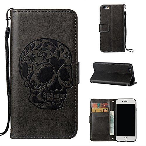 iPhone 6 Coque,Fodlon® Mode Crâne En relief avec Portefeuille & Carte Slots Téléphone Housse -Marron Saphir