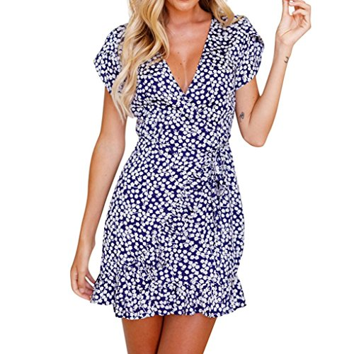 Ningsun elegante donne stampato floreale manica corta v-collo vestito estivo beach ruffled skirt abito gonne vestito da festa casual camicetta casual (blu#, 2xl)