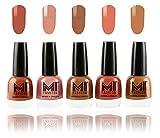 #1: MI Fashion Ultimate Nude Nail Polish Combo in 5 Unique Shades - Olive brown, Candy Cotton, Dark Nude, Rustic Tan, Muddy Nude