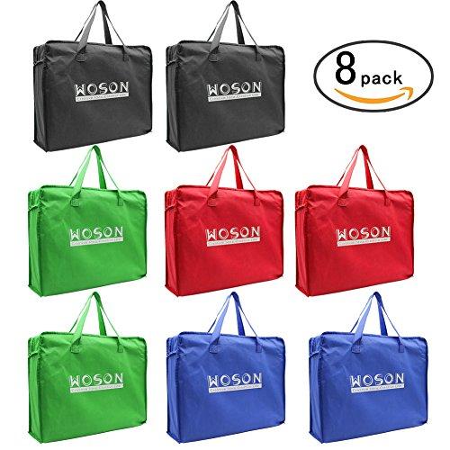 WOSON 8 Pcs Reusable Non Woven Supermarkt Einkaufstaschen Vlies Geschen Verpackung Taschen Shopper Bag mit Griff 40*30*10cm (Woven) (Shopper Woven)
