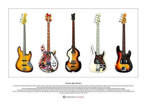 Berühmte Bass-Gitarren limitierte Fine Art Print A3 Größe