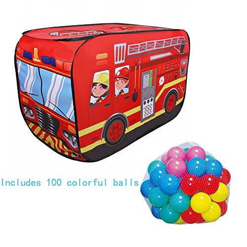 Tenda da gioco per bambini piscina con palline tenda per camion dei pompieri pop-up portatile pieghevole casetta da gioco castello include 100 palline gioco da esterno per esterni regalo per ragazze