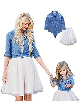 LINNUO Vestido Madre e Hija Camisetas Tops Blusas Jeans & Falda Tutú Tul Ballet Vestido Mujeres Niña Familia Fiesta