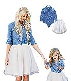 LINNUO Robe Mère et Enfants T-Shirts et Tops Haut Chemise en Denim & Jupe Ballet en Tulle Mariage Party Cérémonie Femmes Fille (Bleu, Blanc,L (Maman))