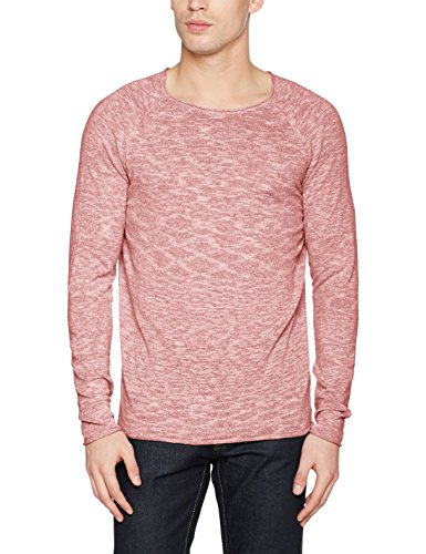 Selected Shnclash Linen Crew Neck, Pull Homme Rouge (Tandori Spice Detail:twisted With Egret)