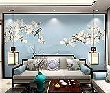 HONGYUANZHANG Rosa Blumen, Fliegende Vögel Benutzerdefinierte 3D-Fototapete Künstlerische Landschaft Tv Hintergrundbild,56Inch (H) X 88Inch (W)