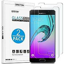 Galaxy A5 (2016) Cristal Templado OMOTON [2 Unidades]Protector de Pantalla Samsung Galaxy A5 (2016) [2.5d Borde redondo]con[9H Dureza][Garantía de por vida]