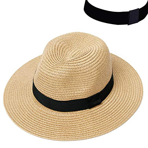 Womens Sombrero (KHKJ Summer Hat Women Panama Straw Hat Fedora Beach Vacation Wide Brim Visor Casual Summer Sun Hats for Women Sombrero 2019)