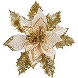 wenjuersty 12 Stück Glitzer Weihnachtsstern Blumen Weihnachtsbaum Ornamente für Weihnachten Valentinstag Neujahr Blumen Dekoration