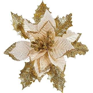 Vxhohdoxs 12 piezas de flores de flor de Pascua con purpurina para árbol de Navidad, poinsettia para Navidad, Día de San Valentín, Año Nuevo, decoraciones florales dorado