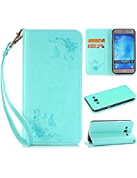 Samsung galaxy J5 2016 Case, Dfly Invisible Strong Magnetic Buckle Style Fancy PU Leather with Embossing Rose and Butterfly Pattern Automatic Adsorption Function Folio Flip Standing Wallet Case for Samsung galaxy J5 2016, Mint Green