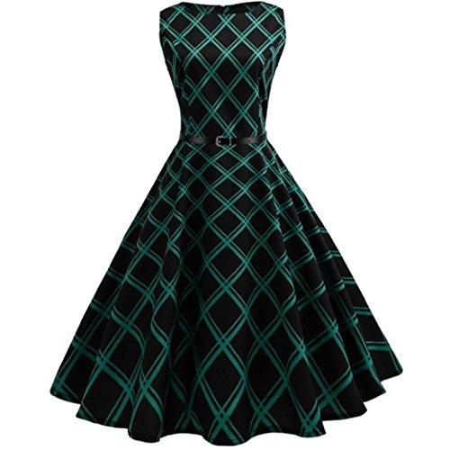 Vintage Plaid Abend Kleid Damen, DoraMe Frauen ärmellose Floral Print Kleid Bodycon Beiläufiges Kleid Frühling Sommer Länge Casual Kleid Hepburn Schwingen Party Kleid (Grün, 2XL) (Vintage-print-kleid Schöne)