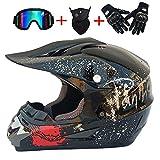 ZHYY Motocross Quad Crash Helm Full Face Off Road Downhill Dirt Bike MX ATV Erwachsene Motorrad-Helmhandschuhe, Brille, Maske 4-teiliges Set (Bright Black),L